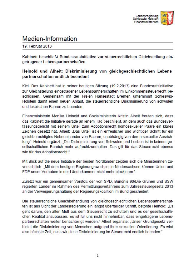 13.2.2013, Presseerklärung Finanzministerin Heinold, Sozialministerin Alheit zur steuerrechtlichen Gleichstellung eingetragener Lebenspartnerschaften