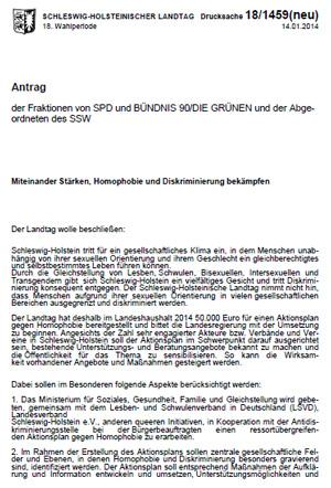 """Landtagsantrag """"Miteinander Stärken, Homophobie und Diskriminierung bekämpfen"""" - Download"""